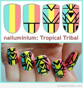 diseño-uñas-nail-art-estampado-print-tribal-tropical-tutorial